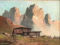 Georg Arnold-Graboné (1896-1982), Landschaft in den Bergen mit Almhütte und hohen Gipfeln im