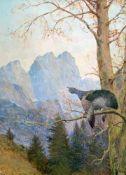 Auerhahn auf Baum vor Gebirge. Öl/Holz, signiert, 39 x 30 cm