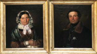 Unbekannter Künstler, um 1830, Paar Biedermeier Portraits: Die Dame mit Spitzenhäubchen, der Herr