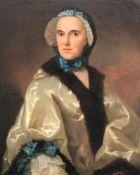 Meister um 1750. Unbekannte Schöne. Dame mit Schleife Häubchen in modischer Kleidung, die zwischen
