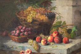 Alfred Arthur Brunel de Neuville (1852 - 1941), Stilleben mit Körben voller Obst. Öl/Lwd. (