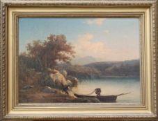 Wilhelm Brandenburg (1824-1901), Landschaft: An einem Ufer, an dem links Felsen und ein hoher Baum