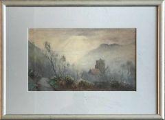 Emily Mary Bibbens Warren (1869 -1956), Alte, englische Kirche im Tal eines hügeligen Geländes,