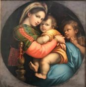 Raffael (Urbino 1583 - 1520 Rom), Madonna della Sedia (Seggiola) Kopie des 19. Jhs. nach dem