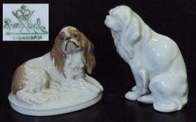 """Zwei """"King Charles""""-Hundefiguren. Zwei """"King Charles""""-Hundefiguren. ROSENTHAL, 20. Jahrhundert. 1)"""