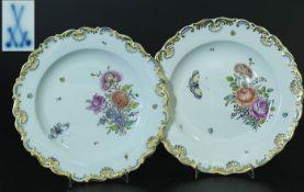 Paar Zierteller. MEISSEN. Paar Zierteller, MEISSEN, Marke um 1850. Fahne gold staffiert mit blau