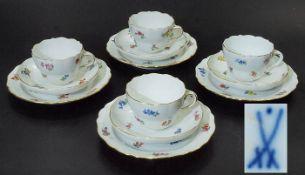 Vier Gedecke, je 3-teilig. MEISSEN.Vier Gedecke, je 3-teilig. MEISSEN, Marke 1923 - 1934. Farbige