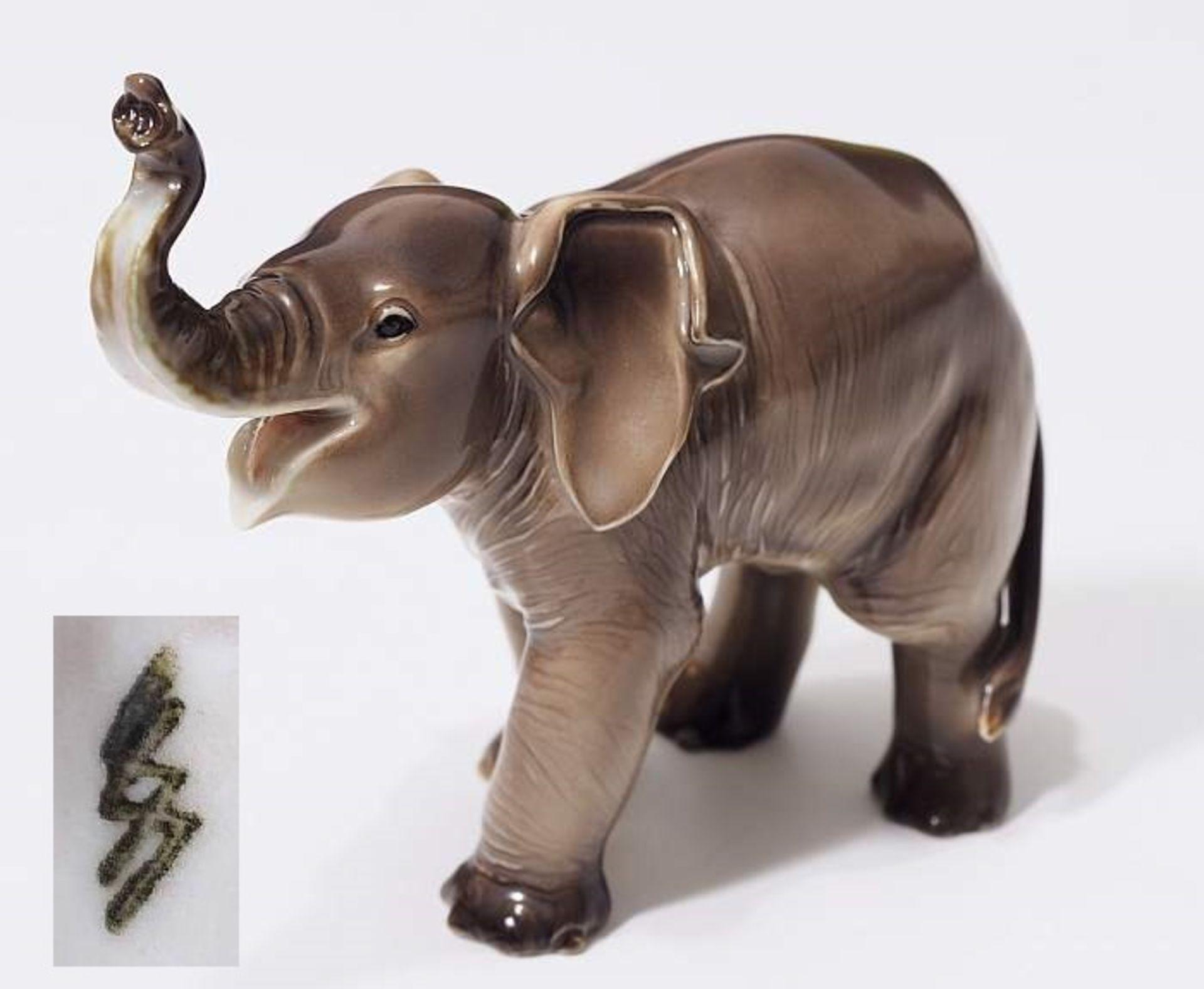 """Sehr seltene Tiefigur """"Elefant, trompetend"""", ALLACH. Sehr seltene Tiefigur """"Elefant, trompetend"""","""