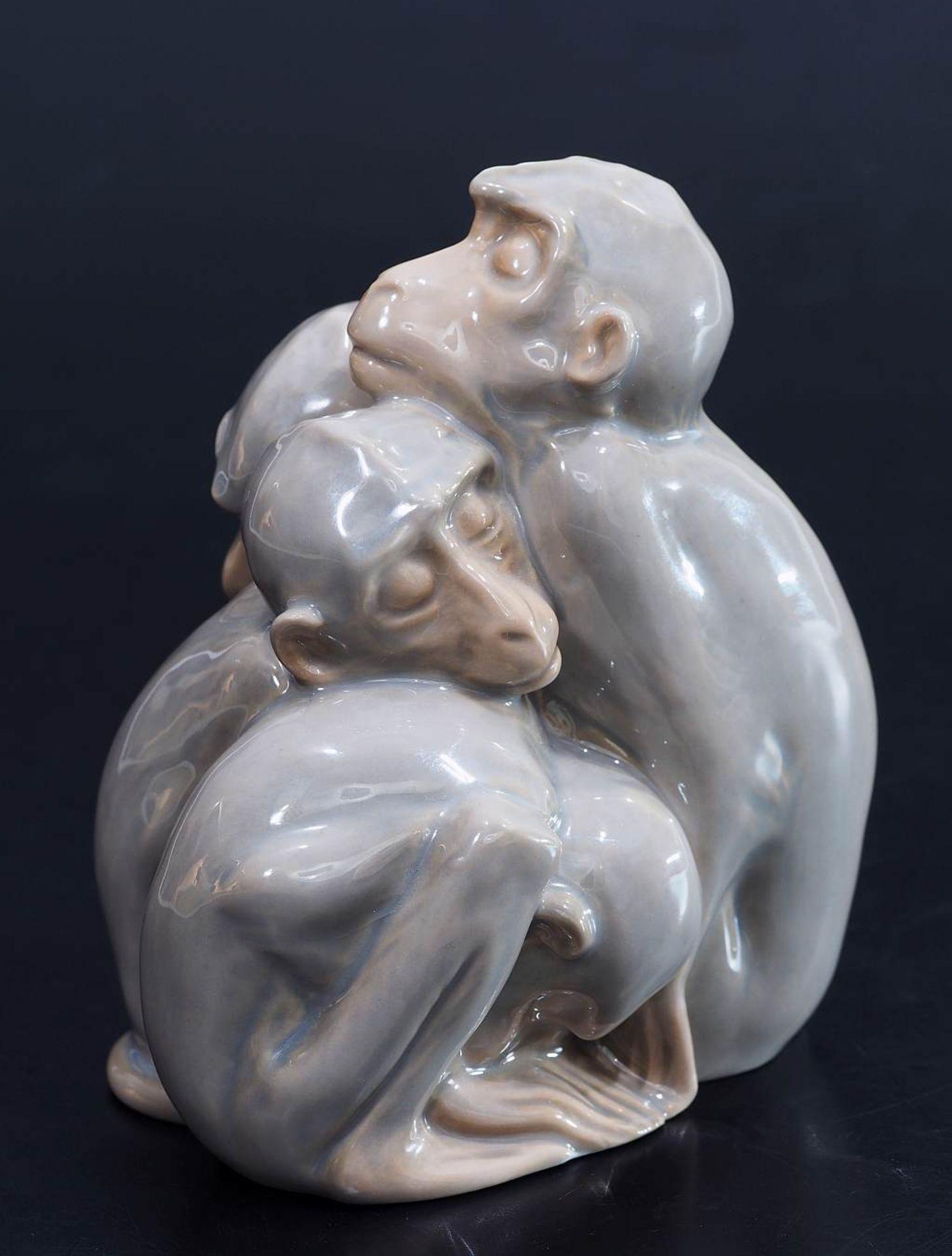 """Figurengruppe """"Vier schlafende Affen"""". BING & GRONDAHL/Denmark. Figurengruppe """"Vier schlafende - Bild 2 aus 5"""