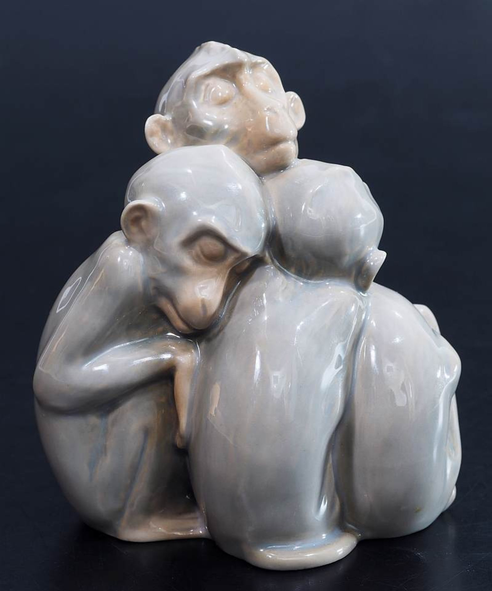 """Figurengruppe """"Vier schlafende Affen"""". BING & GRONDAHL/Denmark. Figurengruppe """"Vier schlafende - Bild 3 aus 5"""