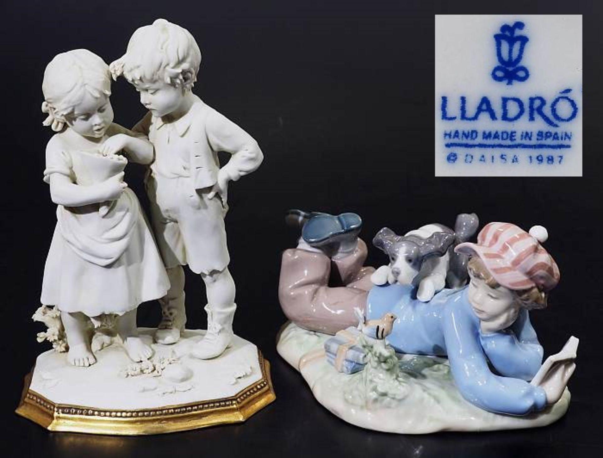 Zwei Kindenfiguren-Gruppen.Zwei Kindenfiguren-Gruppen. 1) Kindergruppe LLADRO/Spanien. Liegender
