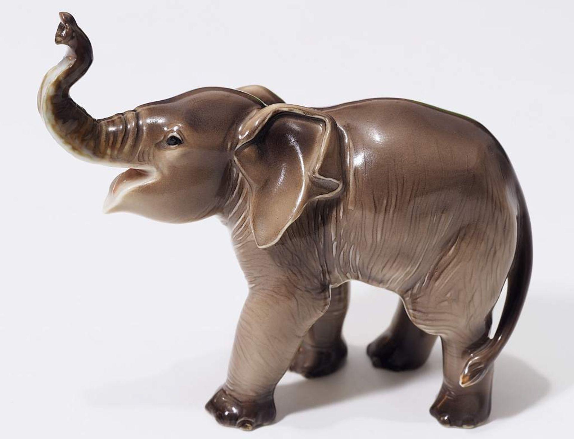 """Sehr seltene Tiefigur """"Elefant, trompetend"""", ALLACH. Sehr seltene Tiefigur """"Elefant, trompetend"""", - Bild 3 aus 12"""