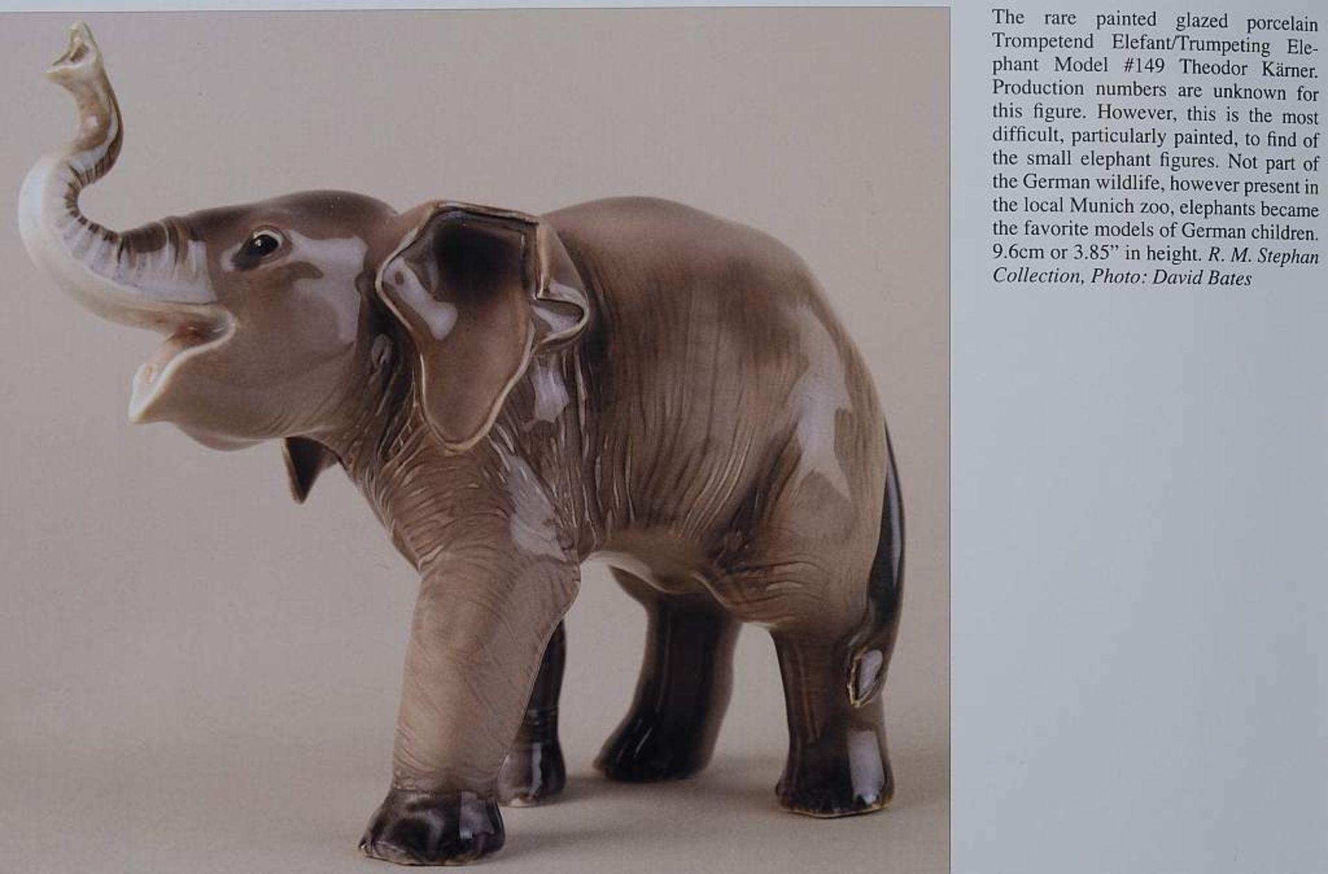 """Sehr seltene Tiefigur """"Elefant, trompetend"""", ALLACH. Sehr seltene Tiefigur """"Elefant, trompetend"""", - Bild 11 aus 12"""