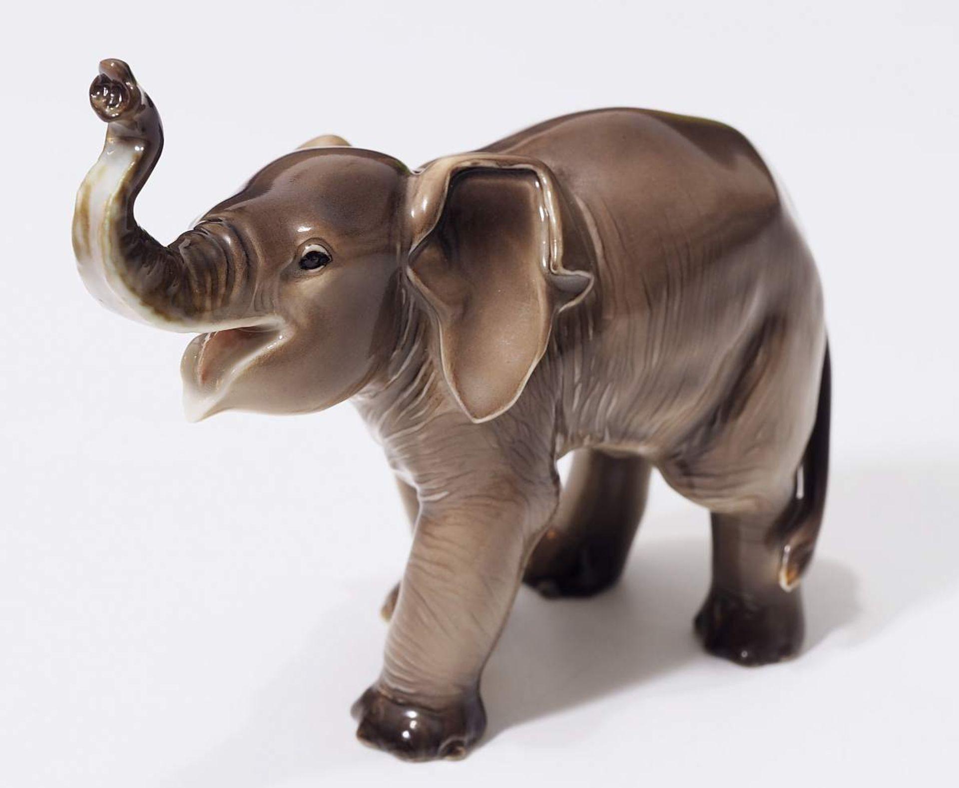 """Sehr seltene Tiefigur """"Elefant, trompetend"""", ALLACH. Sehr seltene Tiefigur """"Elefant, trompetend"""", - Bild 2 aus 12"""