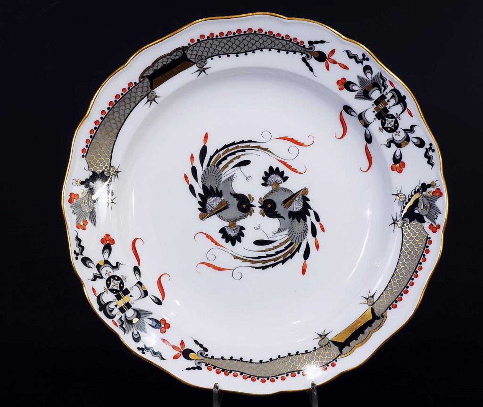 Los 43 - Indisch-Teller. MEISSEN um 1860, 1. Wahl. Indisch-Teller. MEISSEN um 1860, 1. Wahl. Camaieumalerei