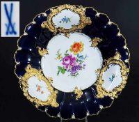 Kobalt-Prunkschale. MEISSEN. Kobalt-Prunkschale. MEISSEN 1860 - 1923, 1. Wahl. Modell Nummer C 152