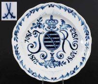 Sächsischer Regimentsteller. Manufaktur Meissen. Jubiläumsteller 1898, zum doppeltem Jubiläum.