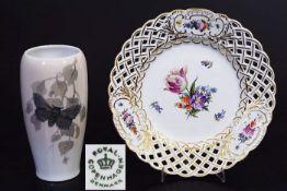 """Durchbruchteller. Vase """"Schmetterling"""". ROYAL KOPNHAGEN/Denmark. 1) Durchbruchteller, farbige"""