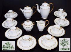 """Kaffee- und Teeservice. Kaffee- und Teeservice. ROSENTHAL R/C.Marke um 1920. Modell """"Carmen"""","""