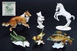 Sechs Tierfiguren HUTSCHENREUTHER. 20. Jahrhundert. Sechs Tierfiguren HUTSCHENREUTHER. 1) Collie