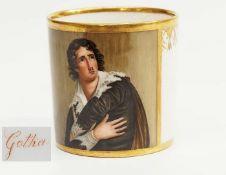 Biedermeier Porträttasse.Biedermeier Porträttasse. Manufaktur GOTHA um 1830 mit roter