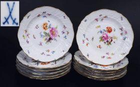 Dessertteller, 12er Satz. MEISSEN 1880 - 1923. Dessertteller, 12er Satz. MEISSEN 1880 - 1923.