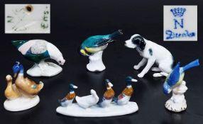 Sechs verschiedene Tierfiguren.Sechs verschiedene Tierfiguren. Porzellan, farbig staffiert.