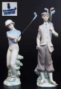 Figuren 1)Golfer. 2) Golferin.Figuren, 1) Golfer, LLADRO/Spain. 2. Hl. 20. Jahrhundert. Farbig