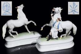 """Zwei Figuren. """"Pferdebändiger"""". Schimmel auf Postament. HEREND. 1) Figurengruppe """"Pferdebändiger""""."""