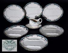 Spargelteller. Sauciere. Villeroy & Boch, METTLACH um 1890. Spargelteller. Sauciere. Villeroy &