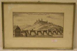Würzburg: Residenzschloss, Steinerne Brücke. Kupferstich um 1700 von Bodenehr. 16 x 30cm.Rahmen
