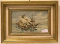 """""""Segelschiffe mit Fischen"""". Aquarell, 13 x 20cm. Rahmen mit Glas."""