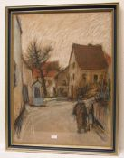 """Klesse, Reinhard (geb. 1932): """"Fränkisches Dorf mit Personenstaffage"""". Pastell, signiert,78 x"""