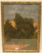 """Reimann, Robert (1882 - Winterthur - 1918). Schweizer Maler und Zeichner:""""Baumlandschaft""""."""