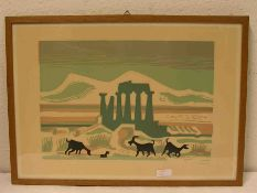 """Seewald, Richard (1889 - 1976): """"Ziegenherde vor griechischer Kulisse"""". Farblithografie,signiert, 30"""