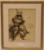 """Unbekannt: """"Dame"""". Tuschfeder-Zeichnung. 22,5 x 18cm. Rahmen mit Glas."""
