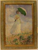 """Monet: """"Frau mit Sonnenschirm"""". Gemäldereplikat auf Lwd., 54 x 36cm, Rahmen."""