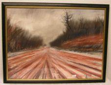 """Klesse, Reinhard (geb. 1932): """"Rötlicher Weg"""". Pastell, signiert, 59 x 79cm, Rahmen mitGlas."""