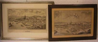 """""""Lohr am Main"""", vier Blatt von Merian bis Stahlstich. 19. Jh. Verschiedene Formate, alleRahmen mit"""