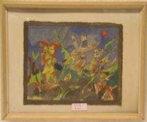 "Berke, Justus: ""Grasgeister"". Aquarell/Feder auf Japanpapier. 19,5 x 23cm. Rahmen mitGlas."