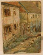 """Charles Emille Jacque (1813 - 1894): """"Bauernhaus mit Hühnern"""". Aquarell/Platte, signiert,58 x 43cm."""