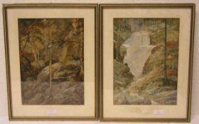"Paar Aquarelle ""Waldlandschaften"". Unsigniert. Je 31 x 23cm. Rahmen mit Glas."
