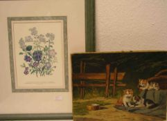 """Pflanzen, zwei Grafiken. 27 x 20cm, Rahmen mit Glas. Dazu: """"Spielende Katzen"""". Farbdruckauf Lwd."""