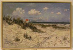 """Carlo Hornung-Jensen: """"Am Strand von Hornbach"""". Original Dietz-Replikat auf Lwd., 170/950,37 x 58cm,"""
