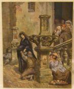 """Italien. 19. Jh. Wohltätigkeit. """"An der Kirchentreppe"""". Aquarell, sehr feine Malweise. 47x 37cm."""
