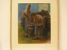 "Küpper, Will (1893 - 1972): ""Bei der Arbeit"". Pastell, signiert, 44 x 35cm. Provenienz:Geschenk"