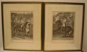 Ridinger: Pferdedressur. Vier Grafiken, Nachdrucke. 36 x 26cm, Rahmen mit Glas; ein Glasmit Sprung.