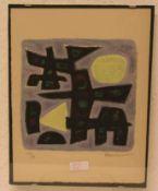 """Mauenier: """"Moderne Komposition"""". Farblitho, signiert, 62/90. 21 x 21cm. Glasbildhalter."""