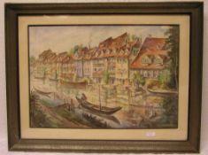 "Gembs, Karl (Bamberger Maler 1929 - 1974): ""Bamberg. Klein Venedig"". Aquarell, signiert,40 x 59cm,"