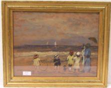 """Buntes Volk am Strand"". Kunstdruck, 27 x 35cm, Rahmen mit Glas."